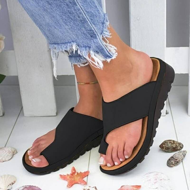 Verano sandalias de las mujeres cómodos plataforma plana suela Casual suave corrección sandalias ortopédicas juanete Corrector zapatos de mujer Zapatos
