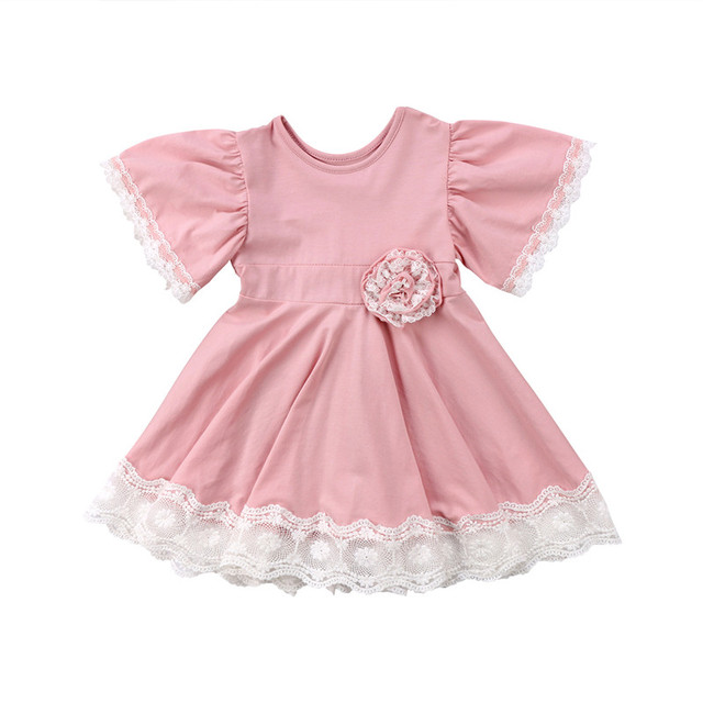 e454b4d9d 2018 New Kids Baby Girl Summer Dress Lace 3D Floral Party Tutu Dress Solid  Short Flare Sleeve Ball Gown Dress Girl Clothes 1-5T