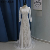 Vintage Lace Long Sleeves Boho Beach Wedding Dress Mermaid Open Back Bohemian Wedding Dresses 2018 Robe