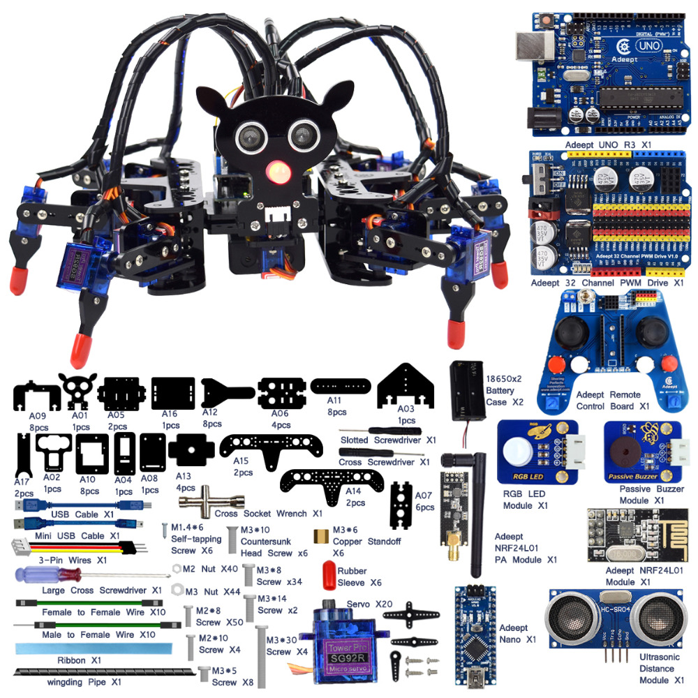 Adeept Hexapod 6 Legs Spider Robot Kit for Arduino UNO R3 with PDF Guidebook adeept diy electric new project lcd1602 starter kit for arduino uno r3 mega 2560 pdf free shipping book headphones diy diykit