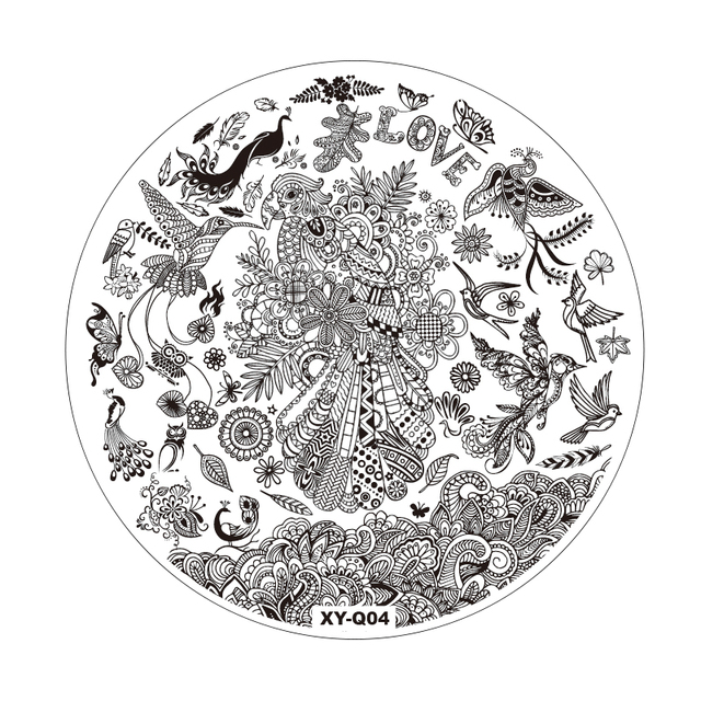14CM Large Round Acrylic Nail Art Stamping Plates Stamping Template ...