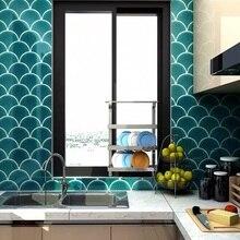 Новая Классическая винтажная плитка для кухни и ванной комнаты с рыбьей чешуей, водостойкая, модная, зеленая, синяя, Moasic настенная плитка
