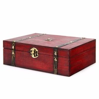 Retro Wooden Key Storage Box Treasure Box Stamps Small Trunk Box For Jewelry Storage Treasure Cards