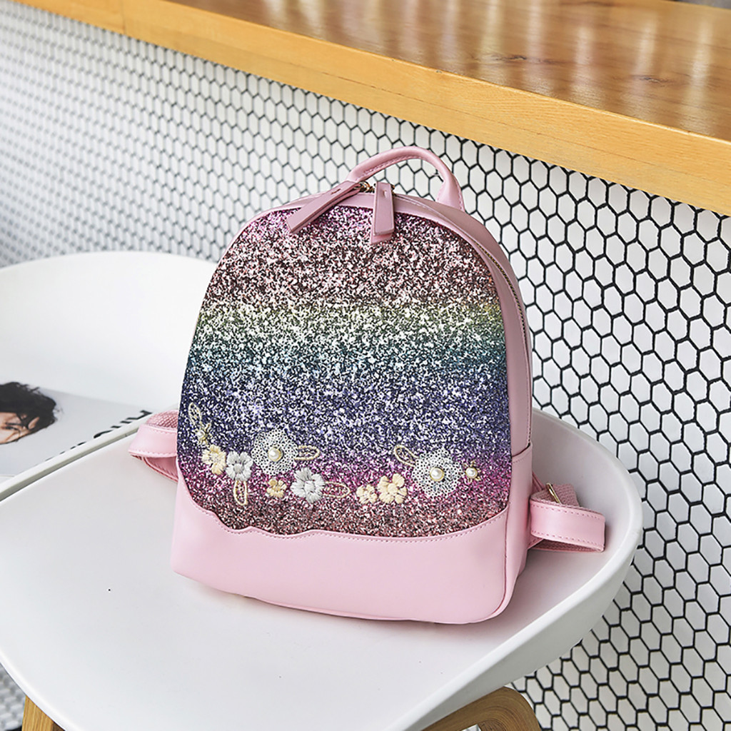 Fashion Women Flower Sequin Backpack High Quality Youth Leather Backpacks For Teenage Girls Female School Shoulder Bag Bagpack