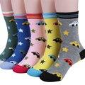 2015 spring & autumn crianças meias menina meias meias de algodão Dos Desenhos Animados do carro imagens de crianças meias para meninos 1-10 anos de 5 par/1 lote