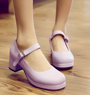 Details about  /Sweet Womens round toe Mary Jane Lolita Bowknot Block Heel shoes Plus Size new