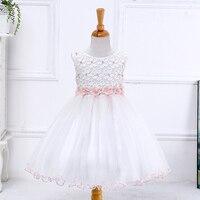 White Lace Girl Dresses For Weddings 2017 Cute Lovely Kids Pearl Pink White Flower Prom Dresses