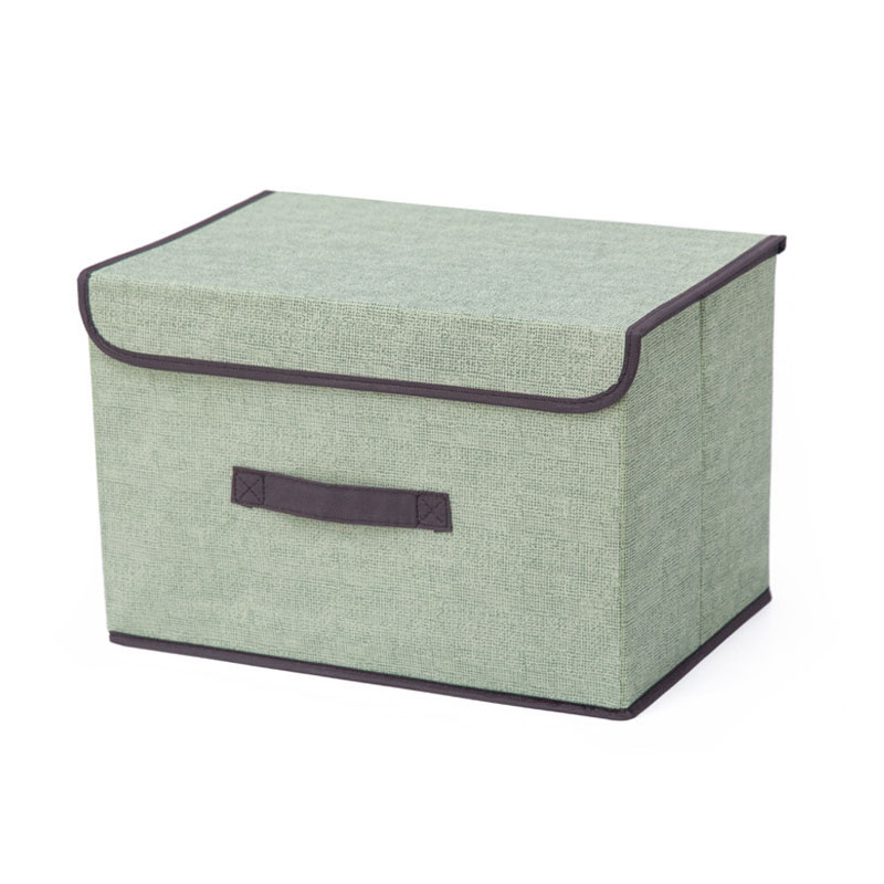 Clothes Storage Box with Lid and Handle Made with Cotton and Linen for Home Wardrobe