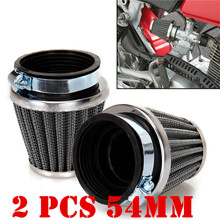 2pcs 54mm Air Filters Universal Tapered Chrome Pod Clean Mushroom Head Cleaner for Motorcycle Cafe Racer with Hose Clamp