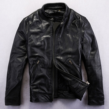 2014 New Stand Collar Leisure Cowhide Simple Atmosphere Men's Leather Jackets Free Shipping