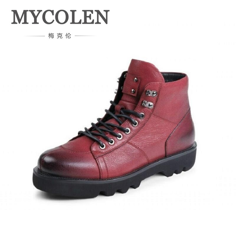MYCOLEN Military Tactical Boots Men High Quality Round Toe Desert Combat Ankle Boots Autumn Mens Leather Red Shoes Scarpe