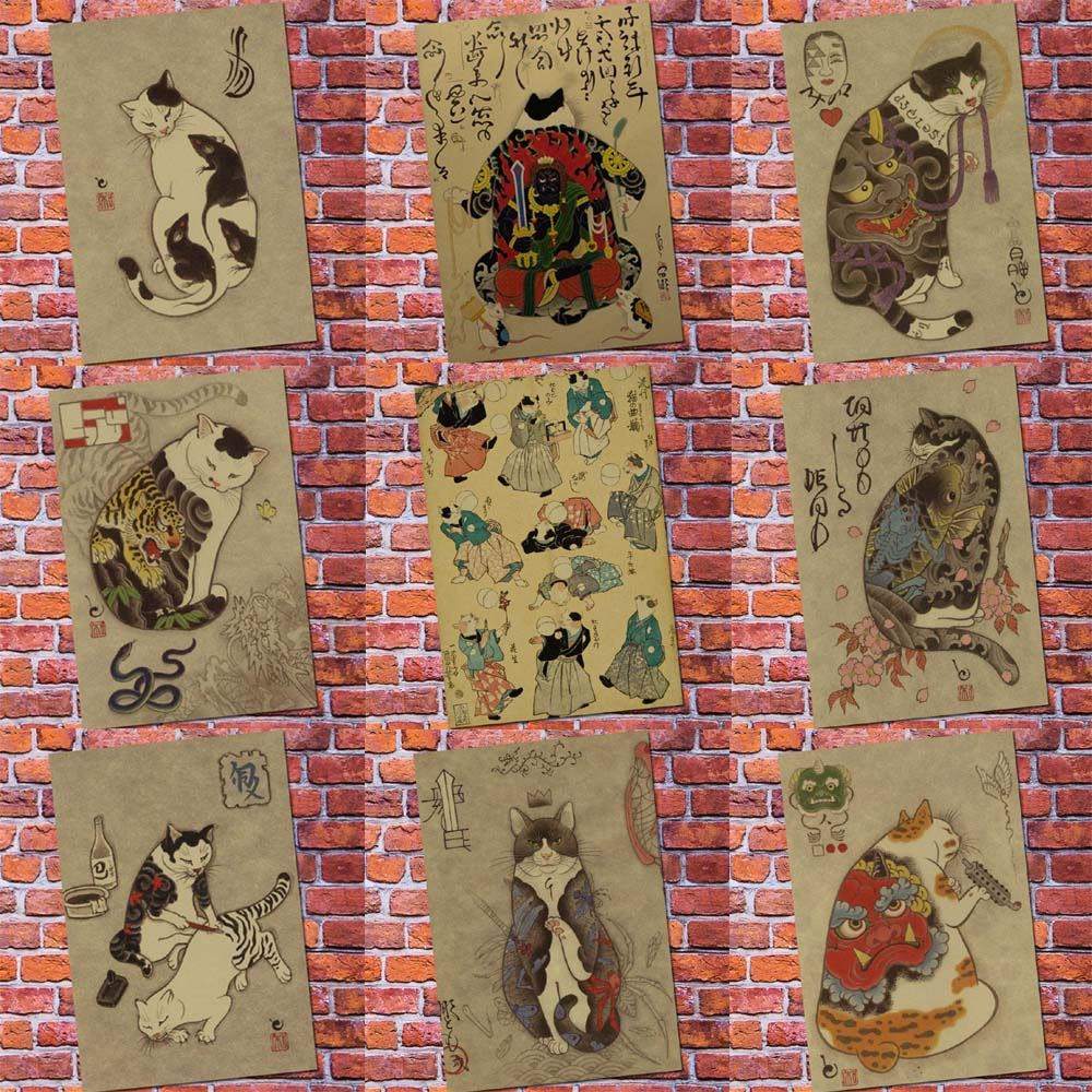 Vintage Paper Posters And Prints Retro Anime Poster Japanese Tattoo Cat -Vintage Home Wall Sticker Living Room Decor Painting