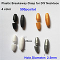 500pairs/lot 2.5mm Plastic Breakaway Clasps For Necklace DIY Necklace's Plastic Closure Break Away Safety Clasps