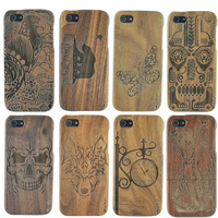 YRFF wooden phone case for iphone 6 6s plus 5 5s animal Eagle Wolf bear Butterfly Bamboo Wood back cover case for iphone6 5 5s