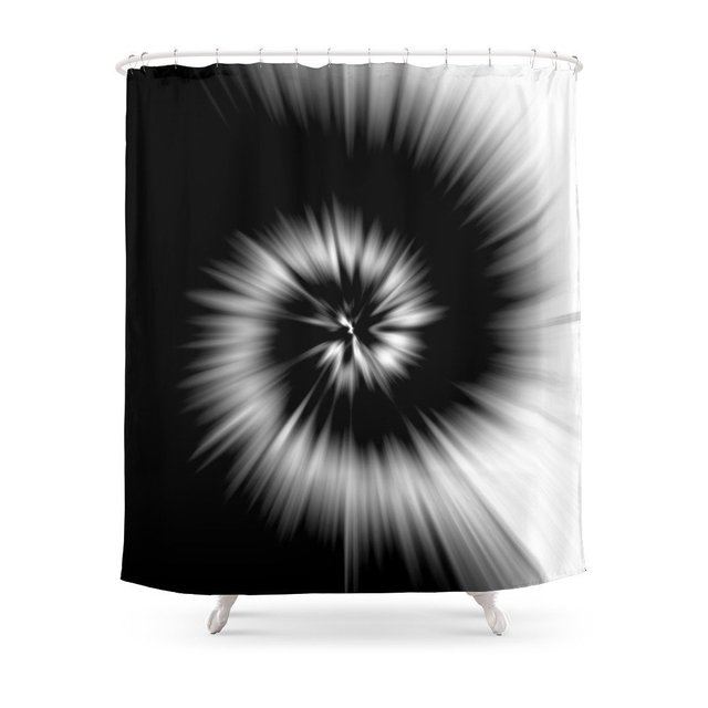 TIE DYE 1 Black White Shower Curtain Waterproof Polyester Fabric Bathroom Decor Multi Size Printed