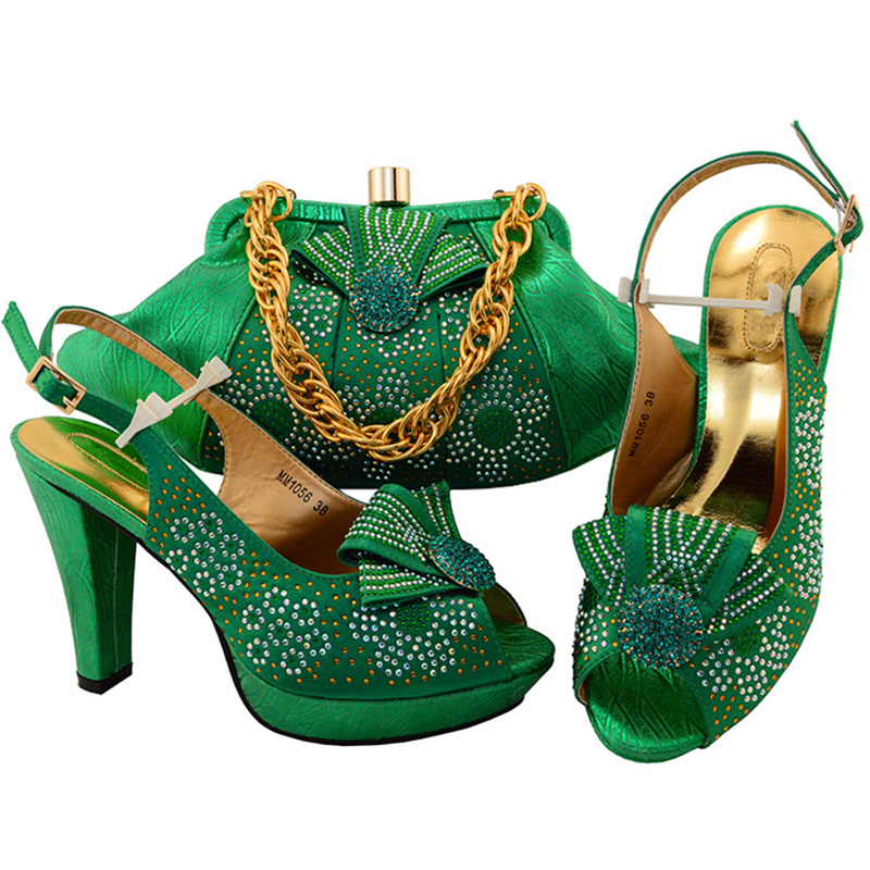 plata Marino Matching Rhinestone verde Color Juego azul Partido Bolsa oro Italianos Zapatos Decorado Y A Bolsas rojo Azul Verde fuchsia Con Conjunto qfHF1q
