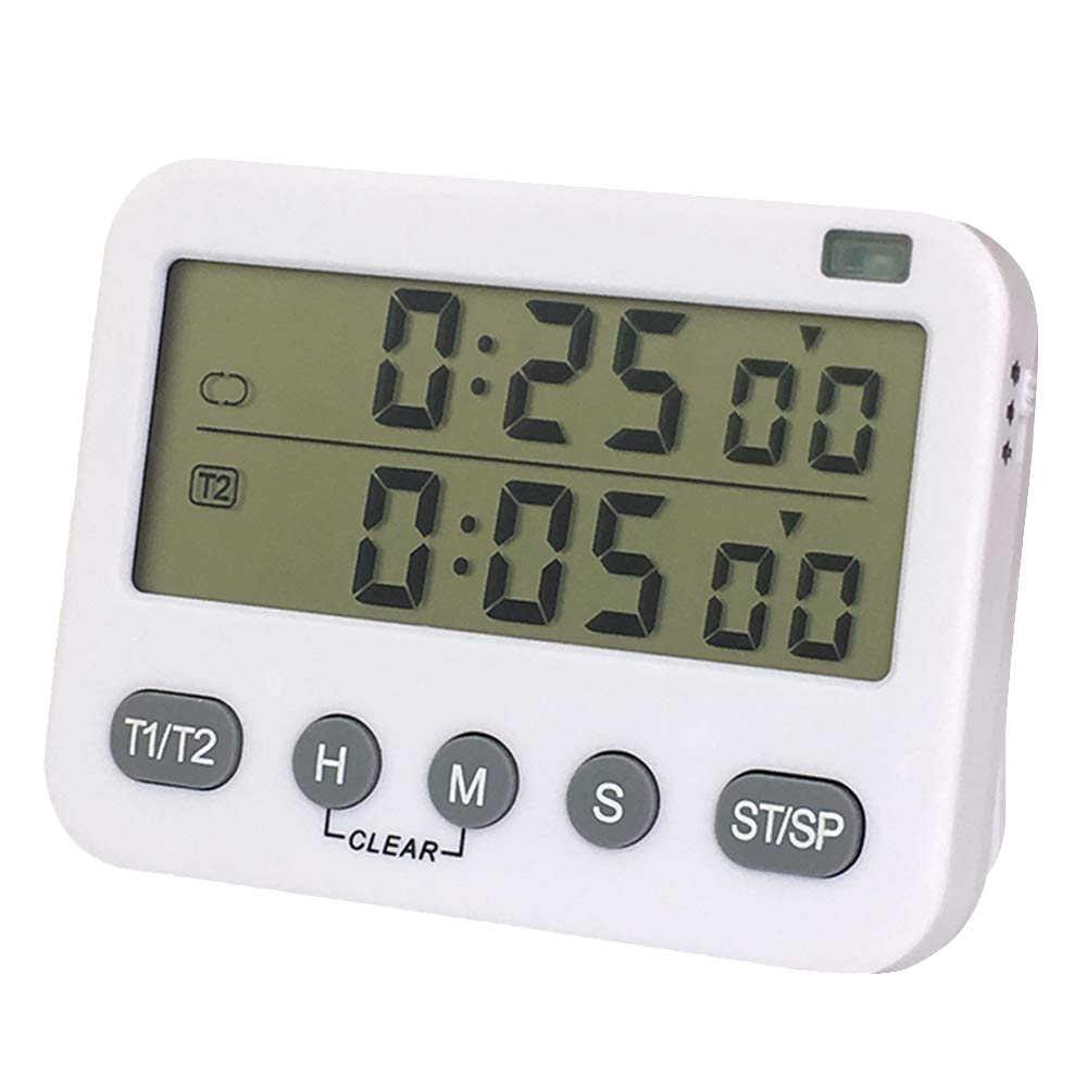 YS Digital double minuterie de cuisine, intervalle, Cycle, minuterie de cuisson, compte à rebours haut/bas, grand écran, réglable