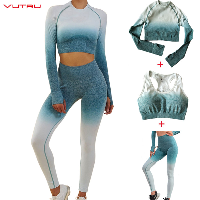 Vutru Sportswear Ombre Seamless 3 Piece Set Women Sport Suit Gym Workout Clothes Long Sleeve Crop