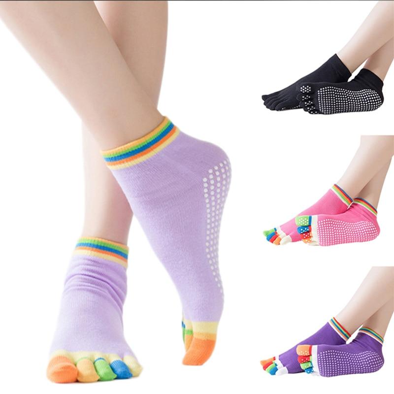 Women Yoga Socks Anti-slip Five Fingers Backless Cotton Silicone Non-slip 5 Toe Winter Female Socks Ballet Gym calcetines dedos non slip toeless yoga socks with grip for women