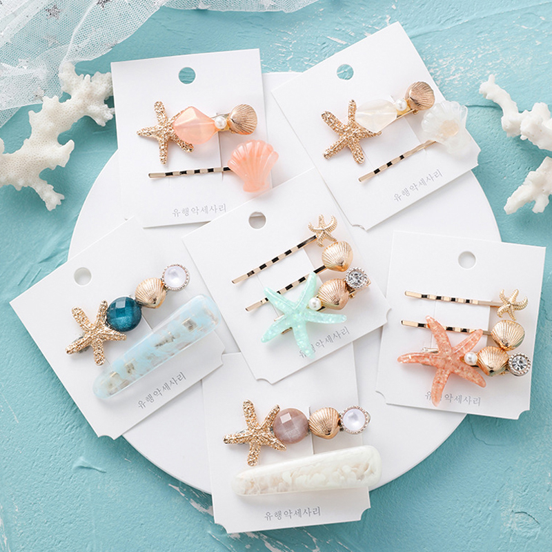 LOEEL 2-3Pcs/Set Shell Starfish Hairpins Hair Clips Hairgrip Hair Accessories Star Shape Barrette Girls Women Headbands   Headwear