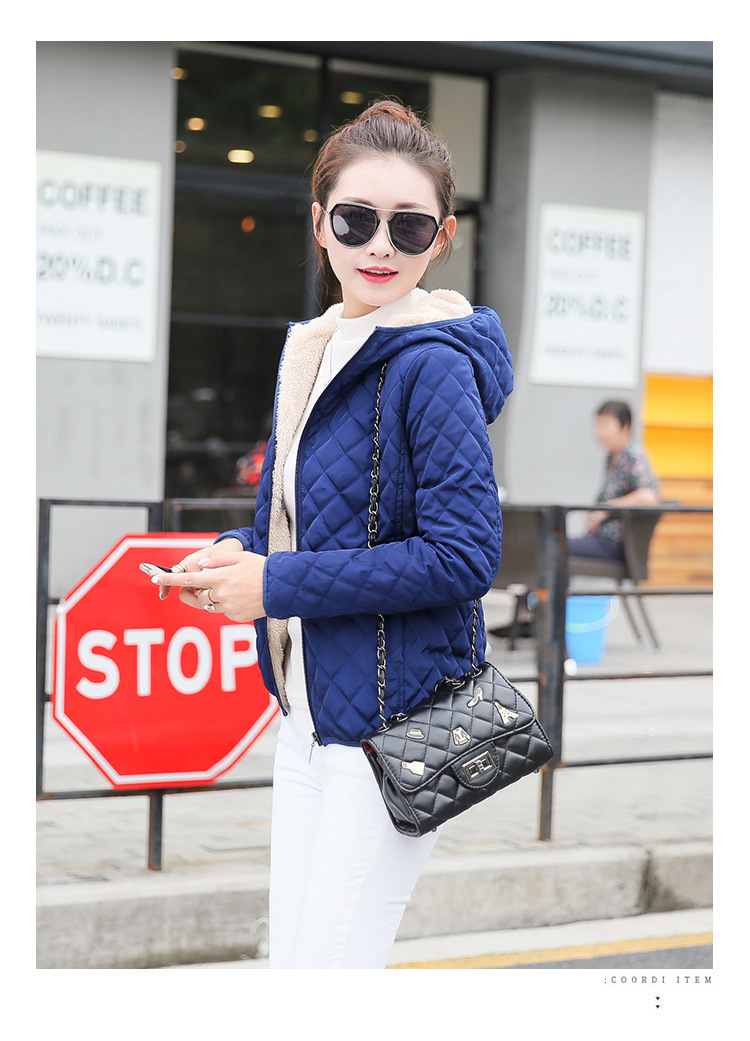 Autumn 2019 New Parkas basic jackets Female Women Winter plus velvet lamb hooded Coats Cotton Winter Jacket Womens Outwear coat 21