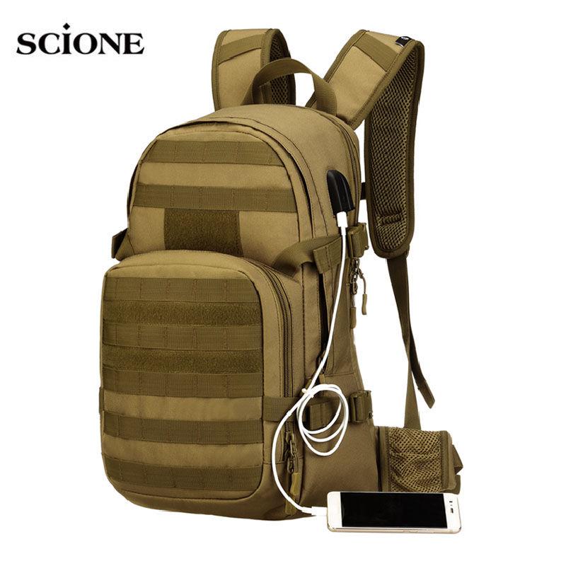 25L Molle Military Tactical Backpack USB Charging Camping Rucksack  Waterproof Backpacks Bag Hiking Outdoor Men s Bags XA501WA 70958dc8e4c4