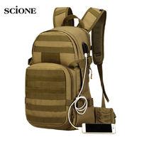 25L Molle Military Tactical Backpack USB Charging Camping Rucksack Waterproof Backpacks Bag Hiking Outdoor Men's Bags XA501WA