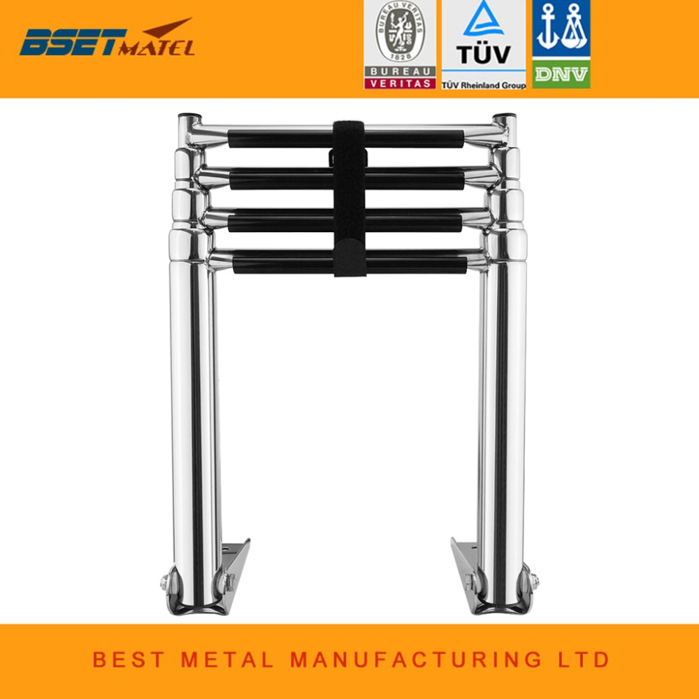 BSET MATEL 4 Steps Boat Stainless Steel 304 Telescoping Folding Ladder Deck  Outboard Swim Platform Boat Marine Yacht Accessories