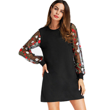 Mesh Sleeve Dress Women 2018 Autumn Winter Flower Full Embroidery Sleeve Short Party Dress Floral Black O-Neck Loose Vestidos