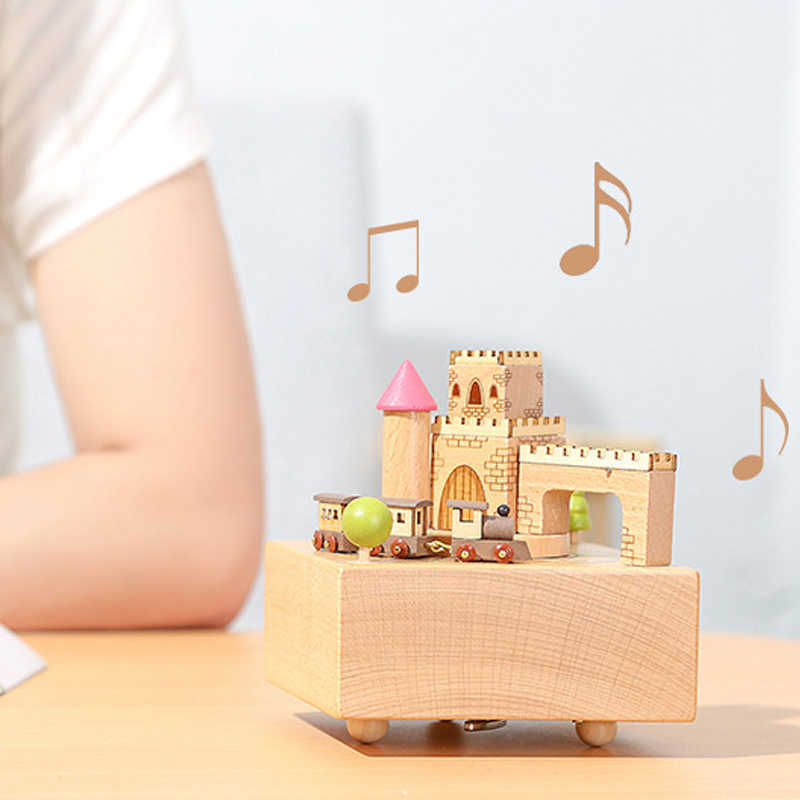 Kids Merry Go Round Wooden Train Carousel Music Box Toy Creative Snowman Castle For Fun Music Educational Child Christmas Toys