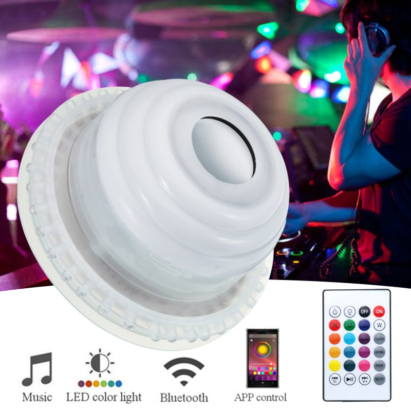 RGB LED Light Bulb E27 Wireless Bluetooth Speaker Music Playing Lamp Bulb Lighting Muis Bulb With Remote Controller AC110-240V