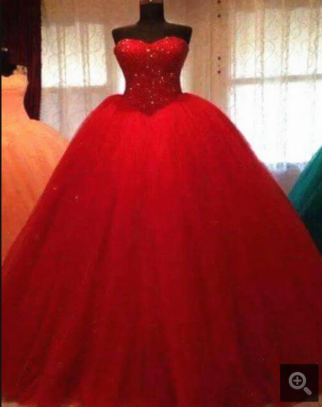 Winter 2016 Real Picture Ball Gown Prom Dress Red Princess Heavily Beading Crystals Prom Dresses Best Selling