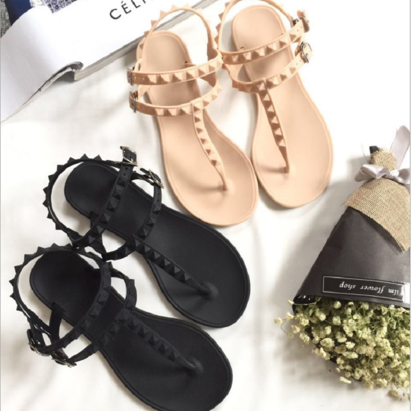 Leisure Flip Flops Sandals Flat With Rivet Solid Buckle Strap Plastic Jelly Shoes Sandals Women Beach Sandals Flip Flops Shoes free shipping candy color jelly sandals new plastic chain beach shoes chain flat bottomed out sandals lace up chains women shoes