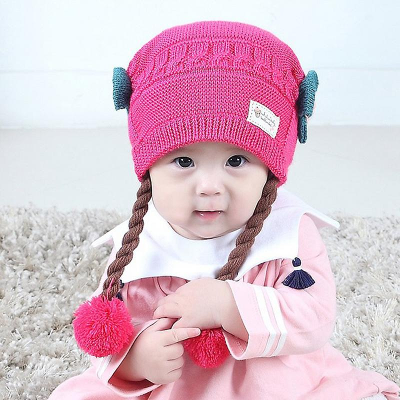 Baby's Knitted Hat Winter Wig Braid Knitted Hats Children's Woolen Warm Hat Ear Protector Warm For 3-18 Months Babies Cap Consumers First