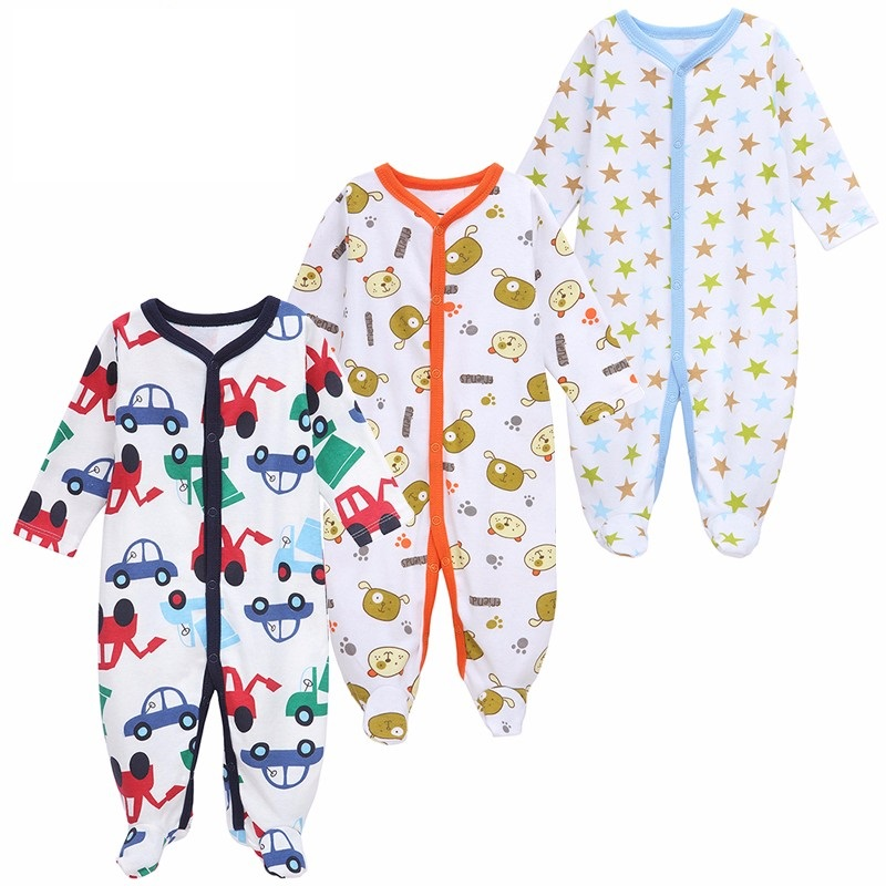 3Pcs /lot Newborn Baby Rompers Long Sleeve Boys Girls Baby Clothes Rompers Baby Infant Jumpsuit Baby Wear Toddler 100%cotton 3pcs lot baby rompers winter long sleeve baby boys clothing solid color o neck jumpsuit baby girls pajamas clothes