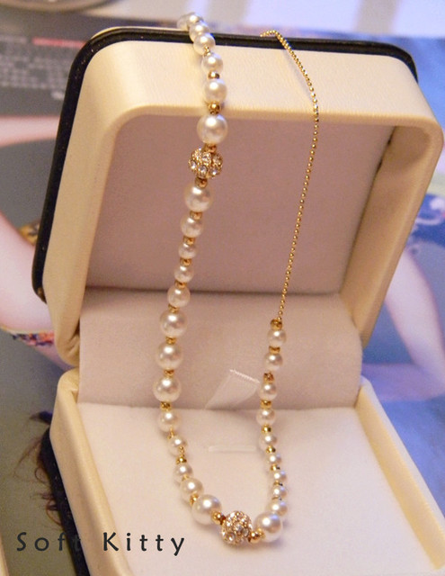 ff0e0f4770063 US $9.64 |Pearl beaded necklace bride dress accessories k gold small ball  point pearl short design necklace female-in Necklaces & Pendants from ...