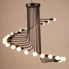 Creative Art Loft Retro Spiral Stairs Chandelier Living Room Bar Study Room Office Pendant Lamp