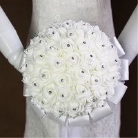 Bridal Wedding Bouquet Stunning Artificial Rose Foam Flower With Crystal And Ribbon For Wedding Fleur Artificielle
