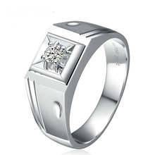 Diamond Solitaire Men Ring 0.11ct Natural Diamond Solid 18K White Gold Handmade Wedding Engagement Jewelry