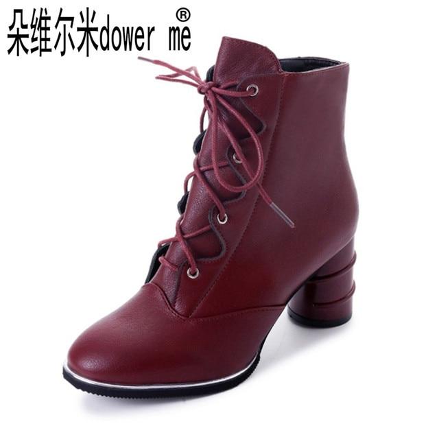 2017 Nueva Primavera Otoño Mujer Zapatos Negros rojos de Alto Tacón Alto de 3a3672