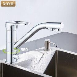 Фильтр XOXO, кухонный смеситель на бортике, смеситель на 360 градусов, холодный и горячий кран, Вращение с функцией очистки воды, 1262