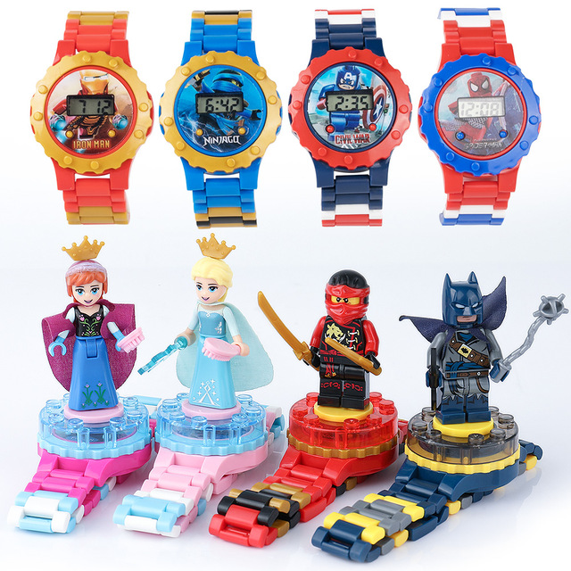 16 Style Super Hero Watch Building Blocks Ninjagoed Marveling Avengers Figures Bricks Toys Compatible With Legoed Minecrafted