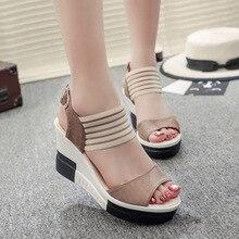المرأة أسافين الصنادل أحذية منصة الصيف امرأة الترفيه نمط عالية الكعب المفتوحة تو مريحة الإناث الأحذية SH030506
