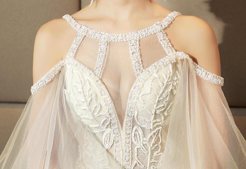 VENSANAC 2018 Beading Halter Lace Appliques Ball Gown Wedding Dresses Sequined Off The Shoulder Backless Bridal Gowns in Wedding Dresses from Weddings Events