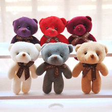 Mini 6 Colors Kawaii 12CM Joint Bear Plush Stuffed Toy Doll for Wedding Party DIY Flower Bouquet Decoration Doll 2pcs set wedding gift joint rabbit bouquet doll toy diy pendant plush stuffed toy soft figure candy box doll toy 4colors