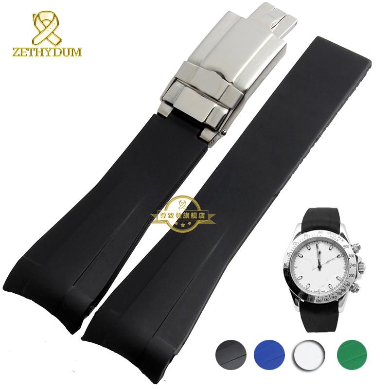 все цены на rubber watch strap waterproof silicone wristband bracelet watchband wristwatches band 20mm belt  fold buckle watch accessories онлайн