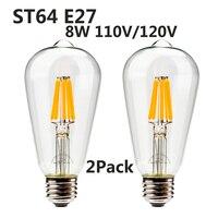 Leadleds 2Pack Equivalent (8W) Vintage Filament Light Bulbs ST64 Antique Shape, Dimmable, E27 Medium Base Lamp for Home Lighting