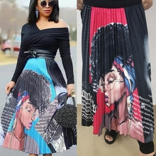 Women Fashion Cartoon Explosion Head Beauty Print Pleated Skirt High Waist Personality Maxi Elastic Waist Casual A-line Skirt maxi high waist pleated a line dress