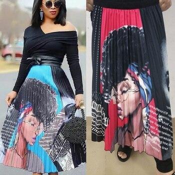 Women Fashion Cartoon Explosion Head Beauty Print Pleated Skirt High Waist Personality Maxi Elastic Waist Casual A-line Skirt ruched high waist maxi trumpet skirt