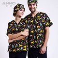 Plus Size Women Men's V Neck Nurse Uniform Hospital Medical Scrub Set Clothes Short Sleeve Pet Dog Printing +1pcs Surgical Cap